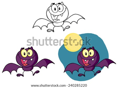 Happy Cartoon Halloween Bat Flying. Raster Collection Set - stock photo