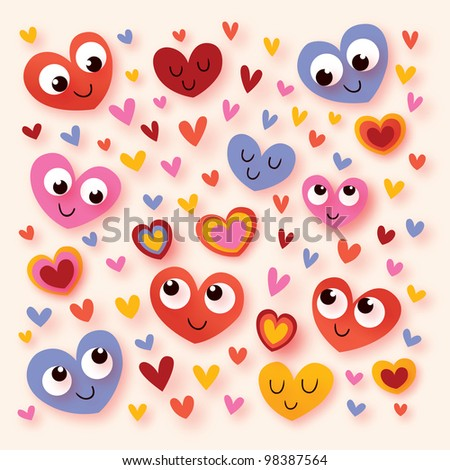 happy cartoon hearts - stock photo