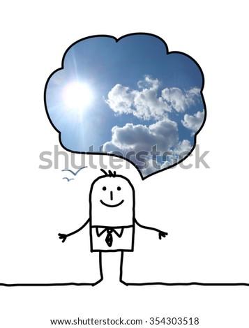 happy cartoon man thinking about blue sky - stock photo