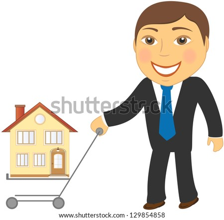 happy cartoon man with shopping cart and house - stock photo