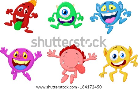 Happy cartoon monster collection - stock photo