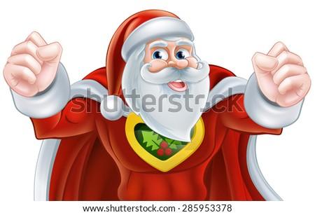 Happy cartoon Santa Claus Christmas superhero character - stock photo