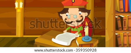 Happy cartoon scene - nobleman is reading some old manuscript - illustration for the children - stock photo