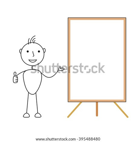 Happy cartoon stick man showing a blank whiteboard with thumbs up