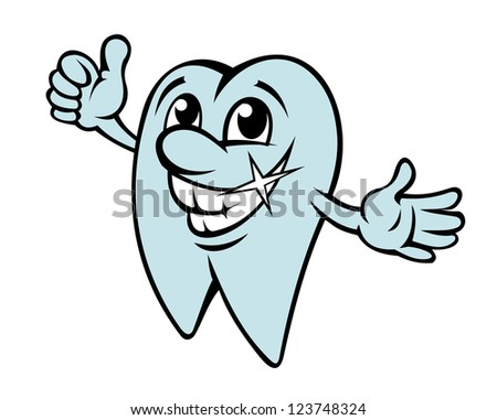 Happy cartoon tooth in clean condition for dentistry design. Vector version also available in gallery - stock photo