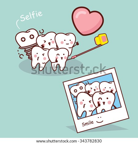Happy cartoon tooth take selfie great for health dental care concept