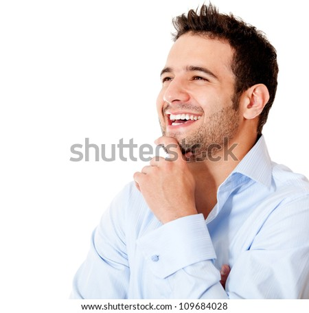 Happy casual business man laughing - isolated over a white backgorund - stock photo