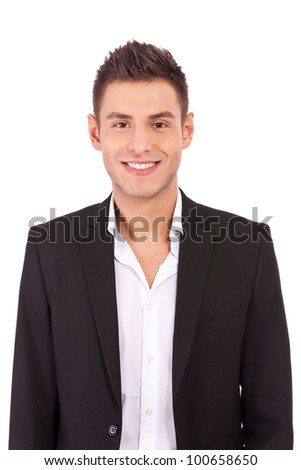 Happy casual business man wearing suit and open collar shirt without tie, smiling - stock photo