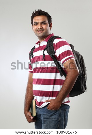 Happy Casual Dressed Young College student