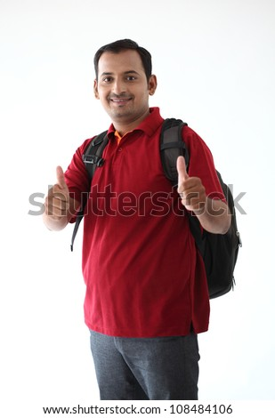 Happy Casual Dressed Young  College student  Isolated on White Background