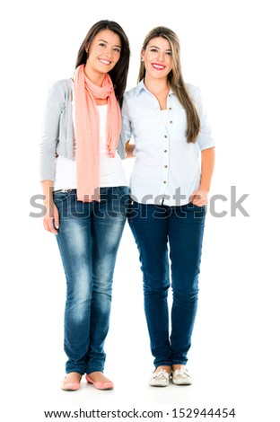 Happy casual girls smiling - isolated over a white background  - stock photo