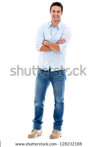 Happy casual man smiling - isolated over a white background - stock photo