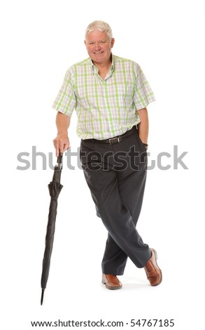 Happy casual mature man on white background, with umbrella
