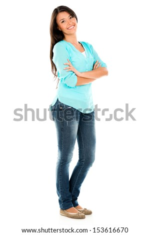 Happy casual woman wih arms crossed - isolated over white background  - stock photo