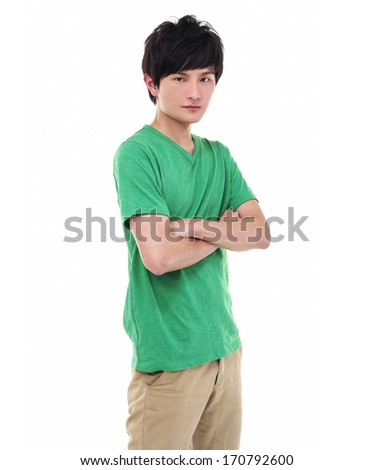 Happy casual young man standing with arm crossed over white background