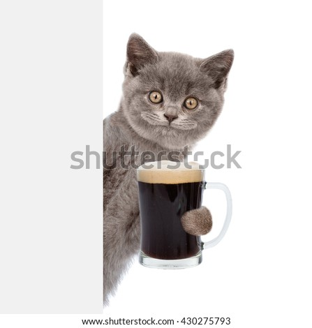 Happy cat holding beer peeking from behind empty board. isolated on white background