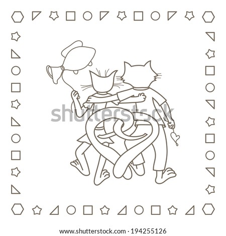 Happy cats in love valentines day coloring page coloring book