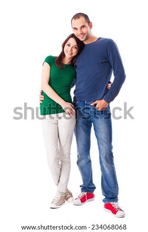 Happy Caucasian couple isolated on white. - stock photo