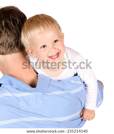 Happy caucasian dad holding his baby boy. Image is isolated on a white background. - stock photo