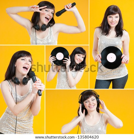 Happy caucasian female singing and listening to music, collage - stock photo