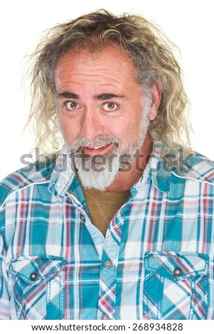 Happy Caucasian man with beard and long hair - stock photo