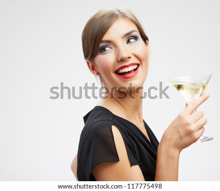 Happy celebrate woman close up  portrait isolated on white background. Wine drink girl, black dress. - stock photo