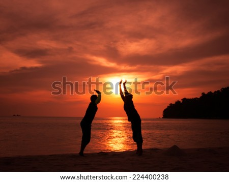 happy celebrating winning success people jumping holding sun silhouette - stock photo