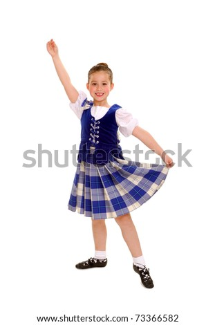 Happy Celtic or Irish Dancer in Traditional Costume