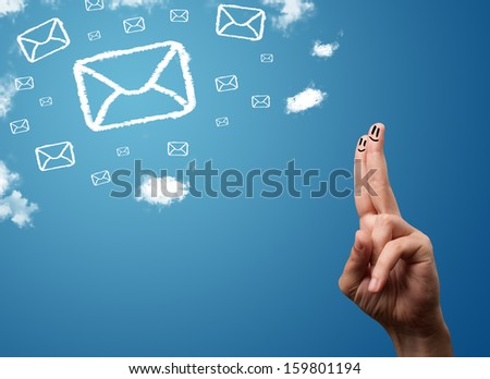 Happy cheerful smiley fingers looking at mail icons made out of clouds - stock photo