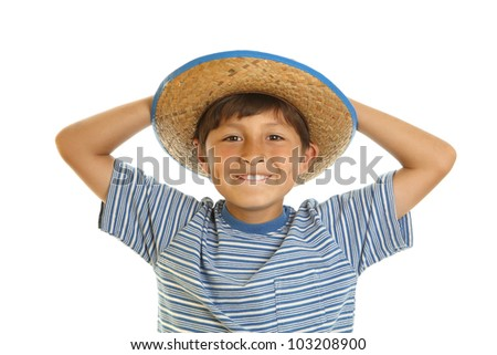 Happy cheerful smiling young boy in toy cowboy hat - on white background - stock photo