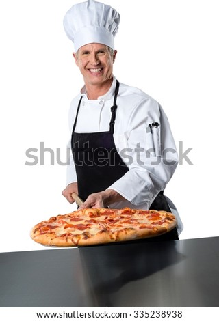 Happy chef just pulled out the whole pepperoni pizza from the oven - Isolated
