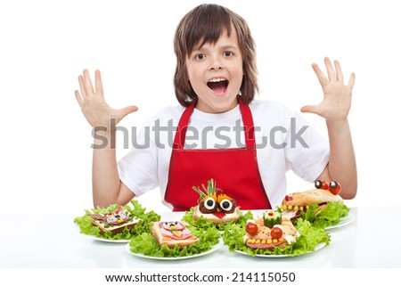 Happy chef with creative food creature sandwiches - shouting, isolated - stock photo