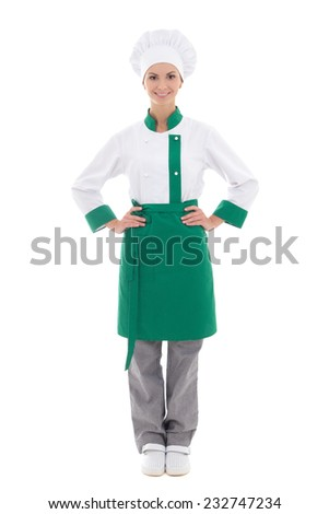 happy chef woman in uniform - full length isolated on white background - stock photo