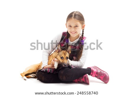happy child and a puppy - stock photo