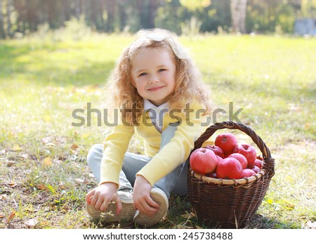 Happy child and autumn basket with apples sitting outdoors in sunny day - stock photo