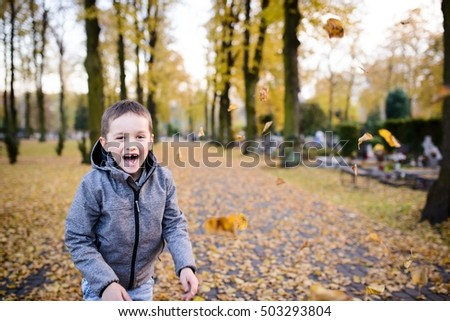 Happy child boy playing with colorful leaves at autumn in the park