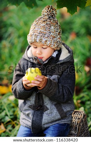 Happy child eating an apple outdoors. Sunny autumn day. Boy in a cap. - stock photo