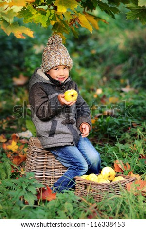Happy child eating an apple outdoors. Sunny autumn day. Boy in a cap.