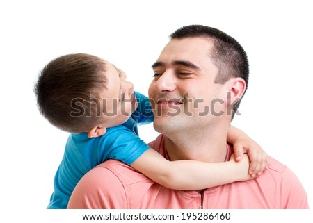 happy child embracing his father isolated on white - stock photo