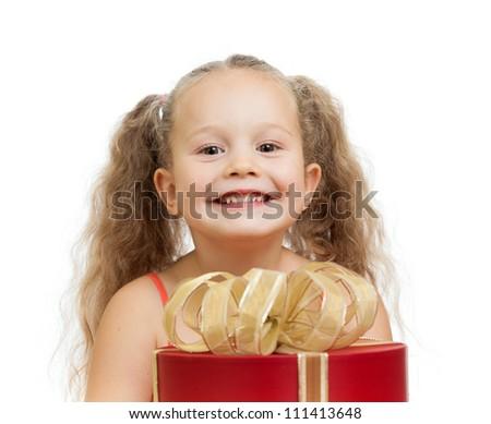 happy child girl behind gift box - stock photo