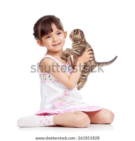 happy child girl holding kitten isolated on white - stock photo