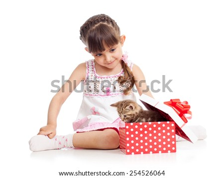 happy child girl with gift box with kitten isolated