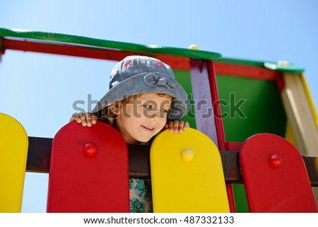 happy child having fun on the playground