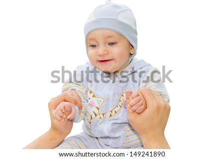 Happy child holding the hands of his father. Isolated on white background - stock photo