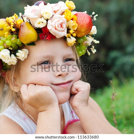 Happy Child in Summer.  Beautiful Girl with Flowers Wreath from Flowers Outdoor. Happy Children. Healthy Kids. Spring Time. - stock photo
