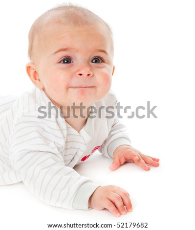 Happy child. Isolated on the white background
