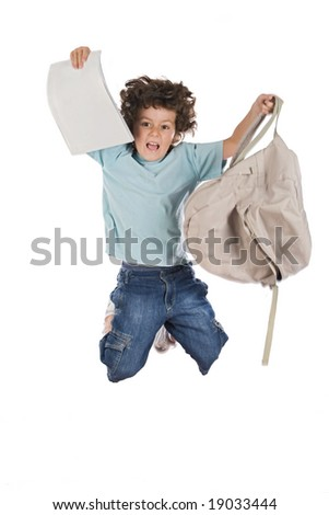 Happy child jumping with backpack a over white background - stock photo