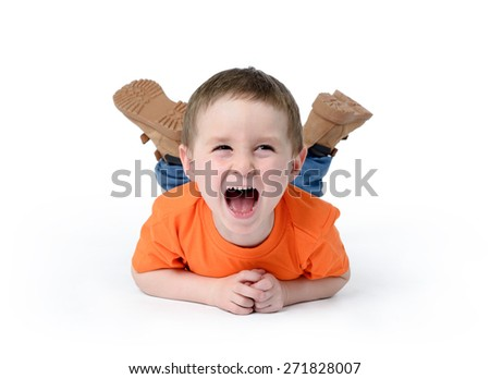 Happy child laughing on white background