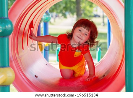 happy child on playground - stock photo