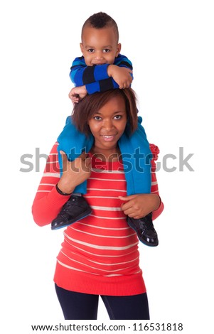 Happy child  smiled on the shoulders of her mother black african afro - stock photo